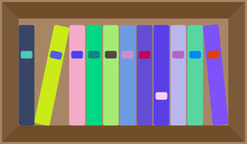 Vector flat colorful bookshelf layout Royalty Free Stock Photography