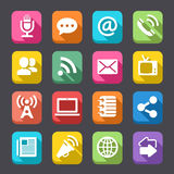 Vector Flat Communication Icon Set. A complete set of 16 communications computer icons, with a flat, shadowed look Stock Photos