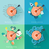 Vector flat concept background with target analysis and planning Stock Photos
