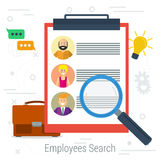 Vector flat concept employee search. List candidates to work with photos and skills description. Zoom magnifying glass picking business person with list of Stock Images