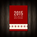 Vector flat concept of Merry Christmas or Happy. New Year design. Christmas tree icon with long shadow. Design elements for calendar or book cover, poster, card Stock Image