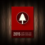 Vector flat concept of  Merry Christmas and. Happy New Year designs. Christmas tree icon with long shadow. Design elements for calendar or book cover, poster Royalty Free Stock Images