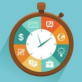 Vector flat concept - time management. Modern illustration with stopwatch and icons - how to control your life Royalty Free Stock Image