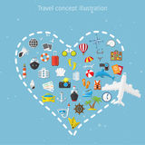 Vector flat concept of World travel and tourism. Royalty Free Stock Image
