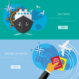 Vector flat concept of World travel and tourism. Royalty Free Stock Images