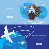 Vector flat concept of World travel and tourism. Stock Images