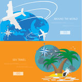 Vector flat concept of World travel and tourism. Stock Photos