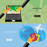 Vector flat concept of World travel and tourism. Royalty Free Stock Photos