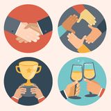 Vector flat concepts - business icons. Vector concepts in flat style - partnership and cooperation. Business icons - handshake, cooperation, victory and Royalty Free Stock Image