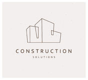 Vector flat construction company brand design template. Royalty Free Stock Photography