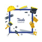Vector flat construction tools frame with place for text illustration stock illustration