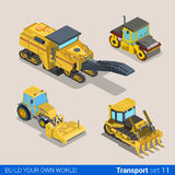 Vector flat construction transport track cutter grubber roller Royalty Free Stock Photography