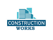 Vector flat construction works company brand blue colored design template. Building company and architect bureau insignia,. Simple logo illustration isolated on stock illustration