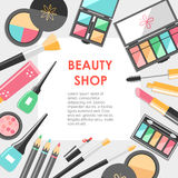 Vector flat cosmetics bacground. Beauty fashion products. Decora Stock Image