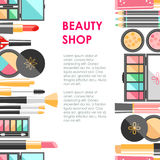 Vector flat cosmetics bacground. Beauty fashion products. Decora Royalty Free Stock Photography