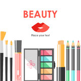 Vector flat cosmetics bacground. Beauty fashion products. Decora Royalty Free Stock Photos