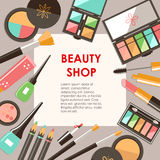 Vector flat cosmetics bacground. Beauty fashion products. Decora Stock Photo