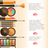 Vector flat cosmetics bacground. Beauty fashion products. Decora Stock Photos