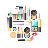 Vector flat cosmetics illustration. Beauty fashion products. Dec Stock Photography