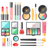 Vector flat cosmetics set. Beauty fashion products. Decorative c Royalty Free Stock Photography