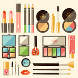 Vector flat cosmetics set. Beauty fashion products. Decorative c Stock Image
