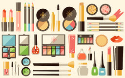 Vector flat cosmetics set. Beauty fashion products. Decorative c Stock Illustration
