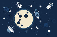 Vector flat cosmos design background. Cute template with Astronaut, Spaceship, Rocket, Moon, Black Hole, Stars in Outer space vector illustration