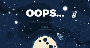 Vector flat cosmos design background. With Error 404, page not found text. Cute template with Astronaut, Spaceship, Rocket, Moon, Black Hole, Stars in Outer Royalty Free Stock Images