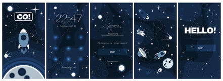 Vector flat cosmos design background for mobile app Royalty Free Stock Photos