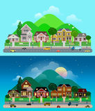 Vector flat countryside suburb village: day, night, houses Royalty Free Stock Photos