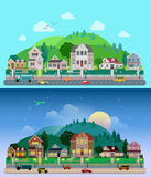 Vector flat countryside village buildings: day, night, houses Royalty Free Stock Photography