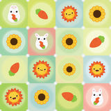 Vector flat creative background with bunny. carrot, sun and sunflower Royalty Free Stock Photo