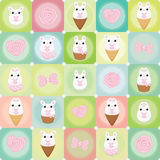 Vector flat creative background with bunny. rose and bow Stock Photo