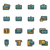 Vector flat credit card icons set. On white background Royalty Free Stock Images