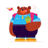 Vector flat cute big bear student character standing with ice cream cone  on white background. Royalty Free Stock Photography