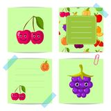 Vector flat cute cherry, blackberry, fruits with faces templates set Royalty Free Stock Photos