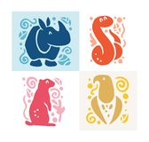 Vector flat cute funny hand drawn animal silhouette isolated on white background - rhino, snake, eagle and gopher. Perfect for children goods store logo Royalty Free Stock Image