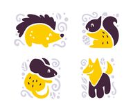 Vector flat cute funny hand drawn animals silhouette isolated on white background - hedgehog, squirrel, mouse and wolf. Perfect for children goods store logo Stock Photo