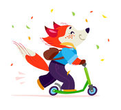 Vector flat cute happy fox student character riding scooter  on white background. Stock Image