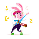 Vector flat cute little bunny girl student character dancing  on white background. Stock Photos