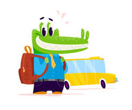 Vector flat cute little crocodile student character standing  on white background. Stock Photos