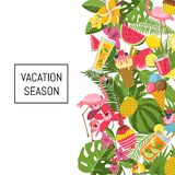 Summer cocktails, flamingo, palm leaves background with stock illustration