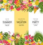 Vector flat cute summer elements, cocktails, flamingo, palm leaves banner. Vector flat cute summer elements, cocktails, flamingo, palm leaves web banner stock illustration
