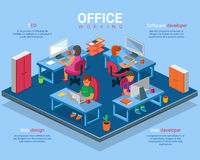 Vector flat 3d isometric business office concept illustration Stock Photo