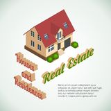 Vector flat 3d real estate poster Royalty Free Stock Photos