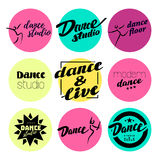 Vector flat dance studio logo. Royalty Free Stock Photos