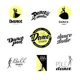 Vector flat dance studio logo. Dance icon. Dancing icon. Human icon. Stamp. Human figure. Dancing lady. Ballet. Pole dance. Ball room dance. Dance school Royalty Free Stock Photography
