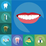 Vector - Flat dental design with shadow icons virgin Royalty Free Stock Photo