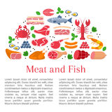 Vector flat design of card template whith different kinds of meat and fish. Beef steak, lamb, pork, chicken, sausages, crab, salmon, lobster, shrimp, oyster Stock Image