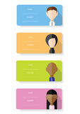 Vector flat design cards with people faces. Set of vector flat design cards with simple portraits Stock Photography